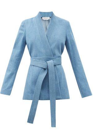 GABRIELA HEARST Women Denim Jackets - Racer Belted Denim Jacket - Womens - Light