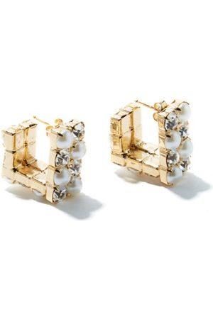 ROSANTICA Polka Small Squared Crystal & Faux-pearl Earrings - Womens - Crystal