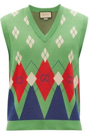 Gucci GG-argyle Cotton Sleeveless Sweater - Mens