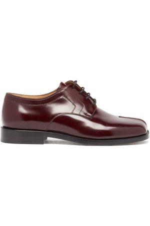 Maison Margiela Tabi Flat Leather Shoes - Womens - Burgundy