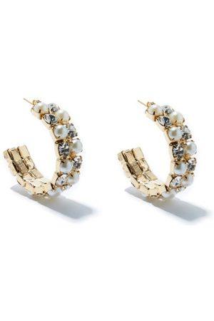 ROSANTICA Polka Crystal & Faux-pearl Hoop Earrings - Womens - Crystal