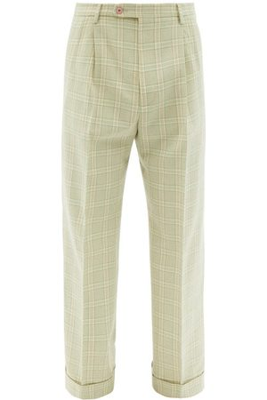 Gucci Tailored Check Wool-blend Trousers - Mens