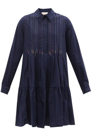 Roksanda Dilara Embroidered Cotton-poplin Shirt Dress - Womens - Navy