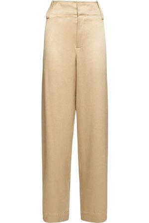 Bottega Veneta Women Straight Leg Pants - Fluid Silk Twill Straight Leg Pants