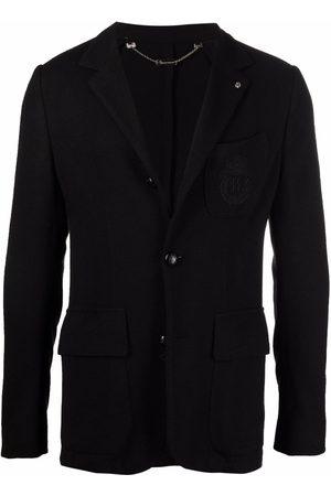 BILLIONAIRE Crest-embroidered slim-fit blazer