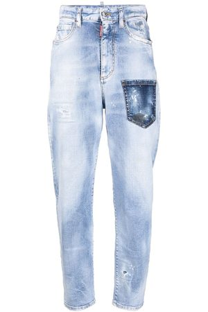 Dsquared2 Logo-patch distressed-effect tapered jeans