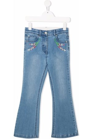 Stella McCartney Floral-embroidered flared jeans