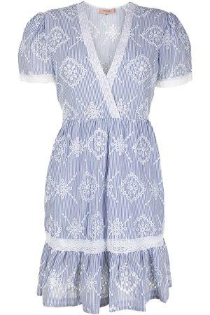 Twin-Set Women Dresses - Striped broderie-anglais dress