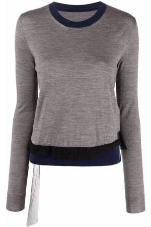 Maison Margiela Contrast-trim long-sleeve knitted top - Grey