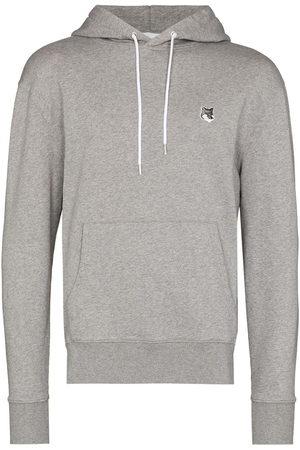 Maison Kitsuné Men Hoodies - Fox-patch cotton hoodie - Grey
