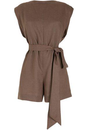 Piu Women Playsuits - Belted linen playsuit