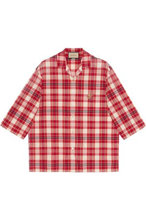 Gucci Men Shirts - X Freya Hartas animal embroidered check shirt