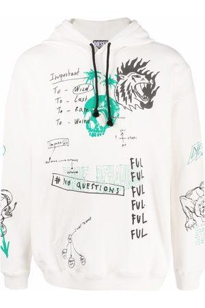 Diesel Men Hoodies - Graphic-print cotton hoodie - Neutrals