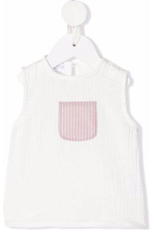 OPILILAI Tops - Contrasting-pocket organic cotton top