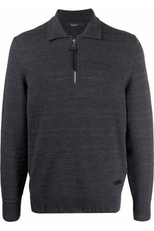 BILLIONAIRE Men Polo Shirts - Zip-up long-sleeved polo shirt - Grey