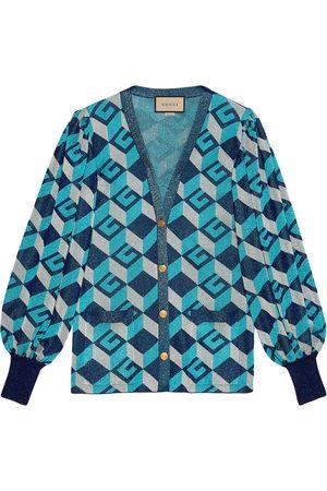 Gucci Geometric G lamé jacquard cardigan