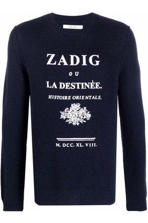 Zadig & Voltaire Men Sweatshirts - Kennedy logo-print cashmere jumper