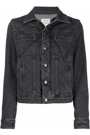Zadig & Voltaire Kiomy Voltaire-print denim jacket - Grey