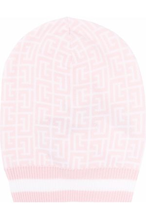 Balmain Women Beanies - Monogram-pattern beanie