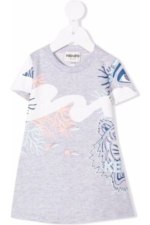 Kenzo Kids Baby Printed Dresses - Tiger-print T-shirt dress - Grey