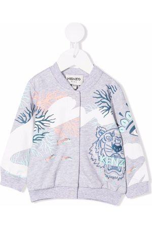 Kenzo Bomber Jackets - Embroidered-tiger zipped jacket - Grey