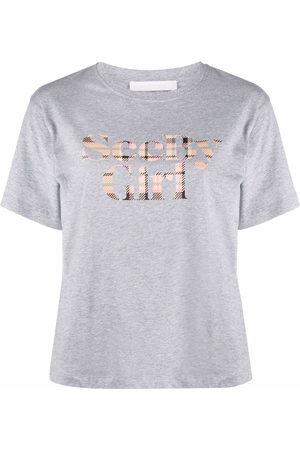 See by Chloé Tartan logo-print T-shirt - Grey