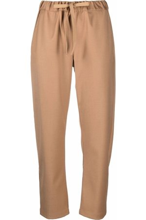 SEMICOUTURE Women Straight Leg Pants - Straight drawstring trousers - Neutrals