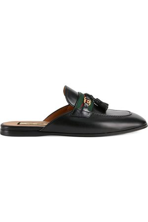 Gucci Women Slippers - Web-stripe leather slippers