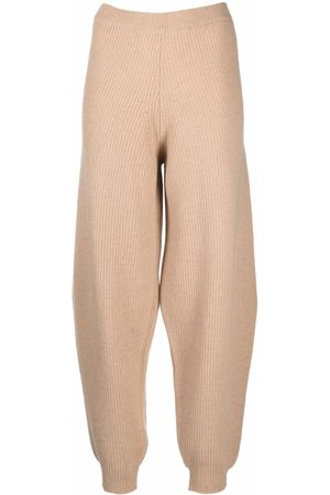 SEMICOUTURE Women Sweatpants - Ribbed-knit sweatpants - Neutrals