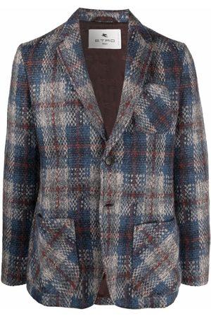 Etro Men Blazers - Single-breasted plaid blazer - Grey