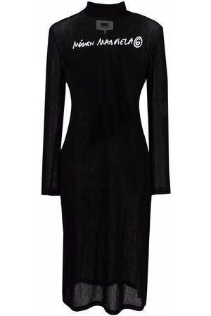 MM6 Maison Margiela Women Bodycon Dresses - Logo-print midi bodycon dress