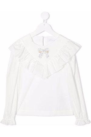 MONNALISA Girls Blouses - Ruffle-trimmed cotton blouse