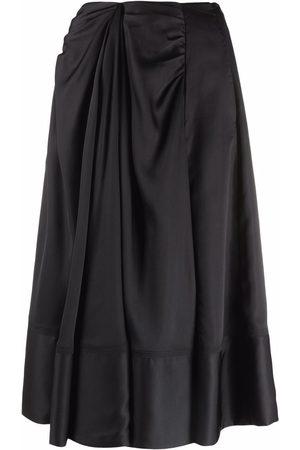 PORTS 1961 Women Midi Skirts - Draped midi silk skirt