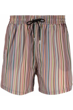 PAUL SMITH Men Swim Shorts - Signature stripe-print swim shorts