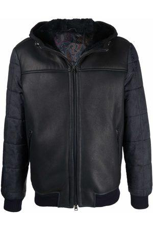 Etro Men Leather Jackets - Paisley-print sleeves jacket