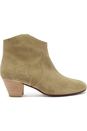 Isabel Marant Dicker Suede Western Ankle Boots - Womens