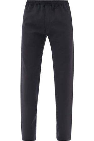 The Row Josh Wool Straight-leg Suit Trousers - Mens - Dark Navy