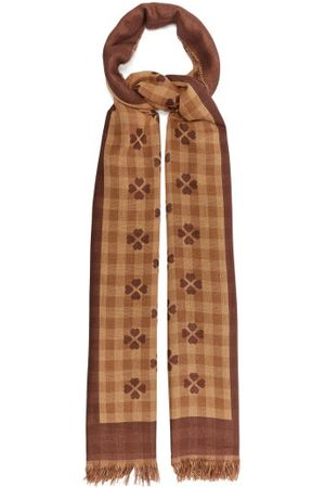Gucci GG And Heart-jacquard Cotton Scarf - Mens - Camel
