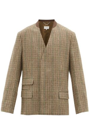 Maison Margiela Concealed Double-breasted Houndstooth Wool Jacket - Mens