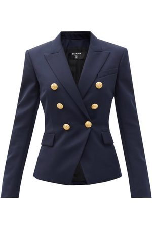 Balmain Double-breasted Virgin Wool-twill Blazer - Womens - Navy