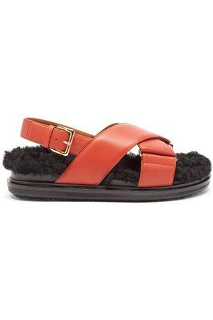 Marni Fussbett Shearling And Leather Sandals - Womens - Tan Multi