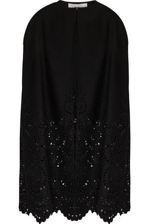 VALENTINO Eyelet-embroidered wool-blend cape