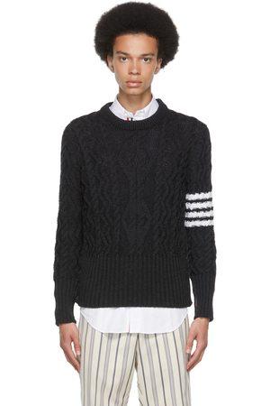 Thom Browne Grey Aran Cable 4-Bar Crewneck Sweater