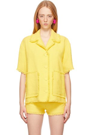 Msgm Yellow Tweed Solid Color Short Sleeve Shirt