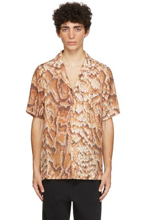 Nanushka Orange & Brown Voile Venci Short Sleeve Shirt