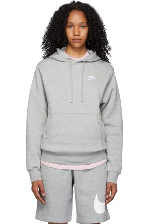 Nike Women Sports Hoodies - Grey Fleece Sportswear Club Hoodie
