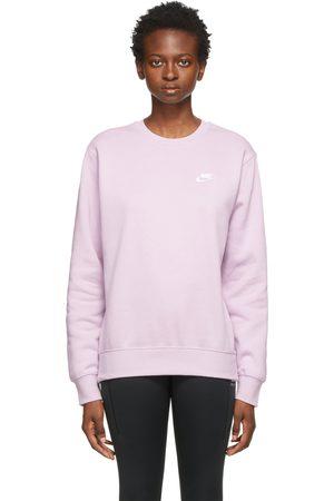 Nike Women Sports Hoodies - Purple Fleece Sportswear Club Sweatshirt