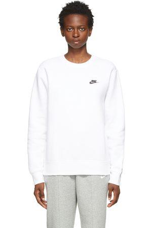 Nike Women Sports Hoodies - White Sportswear Club Sweatshirt
