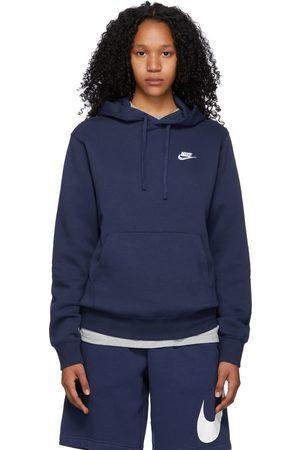 Nike Women Sports Hoodies - Navy Fleece Sportswear Club Hoodie