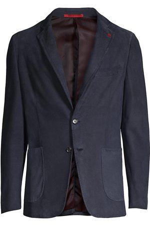ISAIA Men Leather Jackets - Men's Silk Suede Blazer - Navy - Size 38